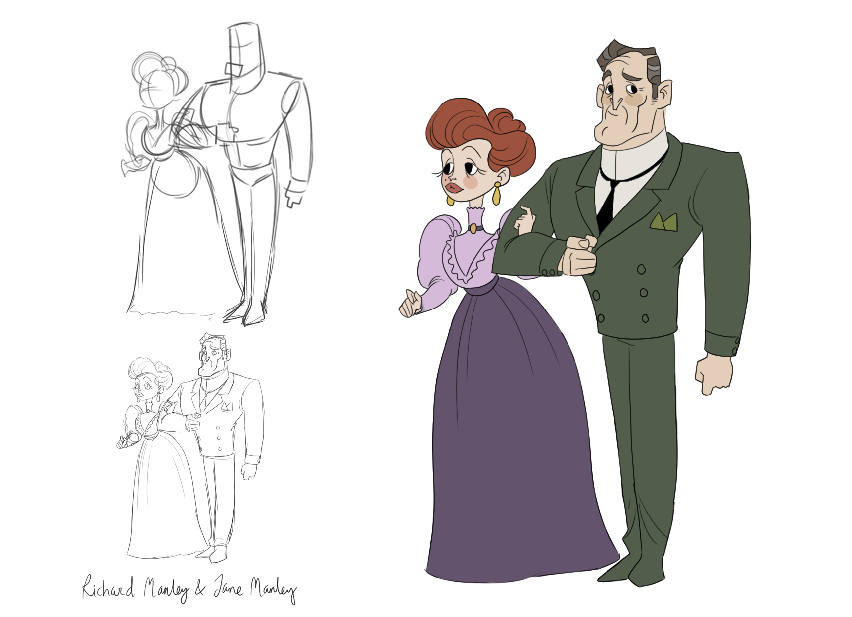 Dick Manley and wife character design
